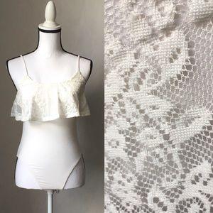 Size S White Lace Bodysuit